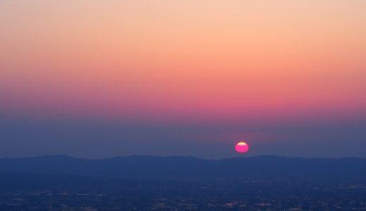 夢の平 散居村展望台の夕陽@砺波市